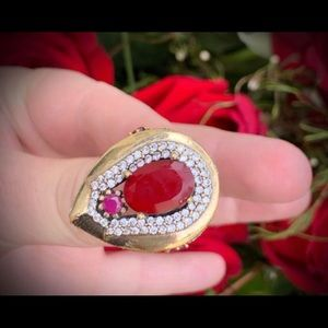 Vintage Pleiades Star Collection Silver Ruby Ring